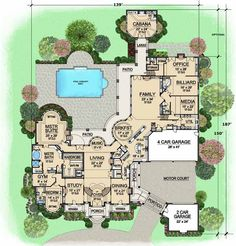 European Style House Plans  15079 Square Foot Home 2 Story 7 Bedroom and Bath 6 Garage Stalls by Monster Plan Main Floor My PERFECT Ranch Beds Baths 6888 Sq Ft 67 871