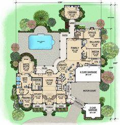 "Plan 63-115:  Bedrooms: 7 Full Baths: 7 Half Baths: 3 Levels/Stories: 2 Garage Stalls: 6 Total Sq. Ft.: 15079 Main floor: 8920 Upper floor: 6159 Garage: 1791 Porches: 210 Width: 139' 0"" Depth: 150' 0"" Height: 33' 6"" Roof Pitch (primary): 20:12 Walls: 2""x6"" Ceiling Height (Main): 12' Ceiling Height (Upper): 10'"