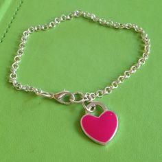 Red Heart Silver Bracelet by joytoyou41 on Etsy, $15.00