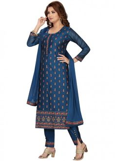 #navy #blue #embroidered #readymade #salwar #kameez #traditional #indian #salwar #suit #indianfashion #party #wear #collection #eid #2021 #ootd Chanderi Suits, Salwar Suits, Readymade Salwar Kameez, Straight Cut Pants, Silk Pants, Pakistani Suits, Navy Blue Color, Blue Tops, Indian Fashion