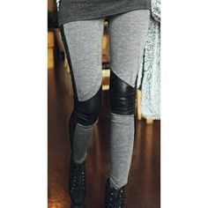Heather gray faux leather detail leggings Brand new, size small. Light heather gray leggings with black faux leather piping and detailing on the knees. Dress it up or dress it down. Looks awesome with tunic tops and/or boots Pants Leggings