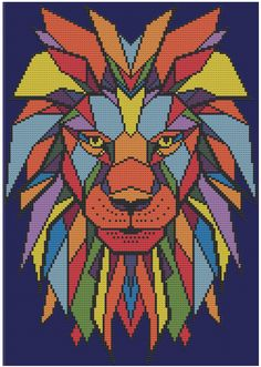 Geometric Lion Counted Cross Stitch Pattern door HornswoggleStore