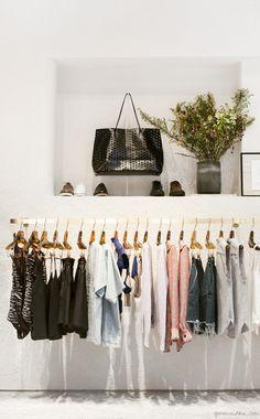 Rachel Comey store, Soho, racks, plant, bag, shoes / Garance Doré