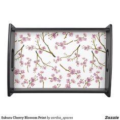 Sakura Cherry Blossom Print Serving Tray #sakura #cherryblossom #cherryblossoms #pattern #spring #summer #blossom