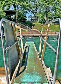 Barton Springs Pool diving board. Cannonball!  This is where I wanted to be today in this hooorrrrrible heat!  :(