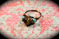 Turquoise and Tiger Eye Gemstone Ring by KranberryKricket on Etsy, $15.00
