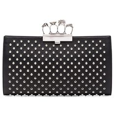 Alexander McQueen Flat Pouch ($1,980) ❤ liked on Polyvore featuring bags, handbags, clutches, knuckle clutches, studded handbags, studded leather handbags, real leather purses and leather hand bags