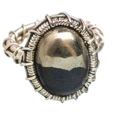 Pyrite In Magnetite (healer's Gold) 925 Sterling Silver Ring Size 7 RING769298