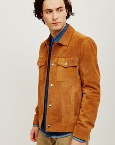 The Idle Man Suede Western Trucker Tan | Shop men's jackets and clothing at The Idle Man