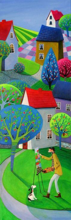 Illustrations, Illustration Art, Paperclay, Naive Art, Colorful Paintings, Whimsical Art, Art Plastique, All Art, Home Art