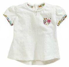 Blusa branca detalhe floral 0m-18m