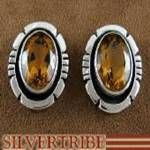 Native American Indian Citrine and Authentic Silver Earrings