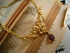 Victorian Styled Golden Brass Filigree Necklace by DelightAndRage, $20.00