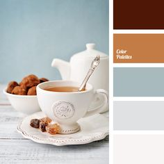 Blue Color Palettes, blue color with a shades of gray, brown, color of brown sugar, color of sugar, color silver, dirty white, ginger, gray, gray-blue, light gray, shades of brown, white and silver.