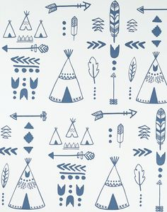 Overview Teepees, arrows, tribal motifs and feathers adorn our native inspired wallpaper. Perfect for your mini adventurer! Available in two stylishly muted colourways: Storm Green on Grey and Indigo