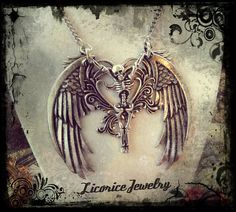 Fallen Angel Skeleton Winged Necklace gothic by LicoriceJewelry, $80.00