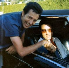 Elvis in L-A in his car in june 21 1968. At the time he was working on his 68 t-v special.