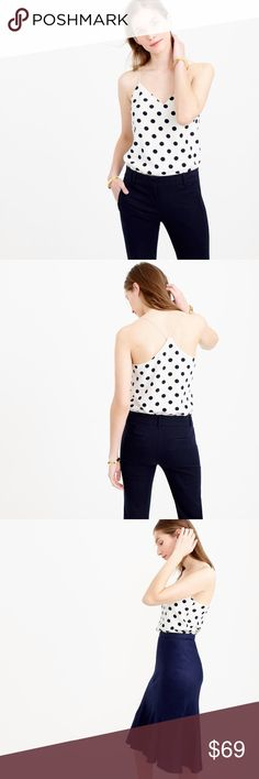 LIKE🆕J. Crew Silk Polka Dot Carrie Camisole The top that everybody loves💑and is going crazy😵for! And is literally selling🚫 out everywhere.well guess what?here is your chance to own the latest take on J.crew's fun and feminine polka dot print camisole.this top is crafted in luxe silk and smooth down to the touch!top is a size 12 and fits true to size.top is in perfect condition still looks and smells brand new!no rips stains odor  or sign of wear! J. Crew Tops Camisoles