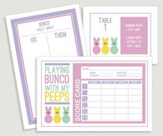 EASTER BUNCO CARDS -------------------------------------------------------------------------------------------- This listing is for the digital files for the printable party stationery shown, that will be delivered via INSTANT DOWNLOAD. No printed materials will be mailed. INCLUDED ITEMS