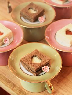 Party Frosting: Tea Party ideas/inspiration. You could serve a little snack with an upside cup and saucer... use cookie cutters to create a little peek-a-boo shape!