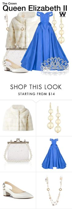 """""""The Crown"""" by wearwhatyouwatch ❤ liked on Polyvore featuring Liska, Kenneth Jay Lane, Monsoon, Christian Siriano, Nine West, Bling Jewelry, television and wearwhatyouwatch"""