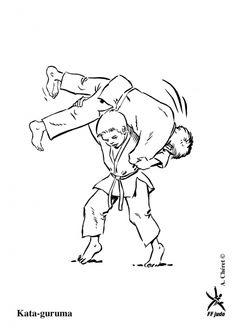 Kleurplaten judo / Kata-guruma