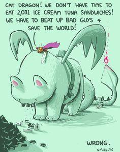 Cat Dragon and His Ice Cream Tuna Sandwiches - Sebastien Millon / Art & Illustration