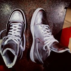 best service e7f27 96394  nikes  fashion my new babies silver nike shoes ✌ Nike Shoes, High Tops