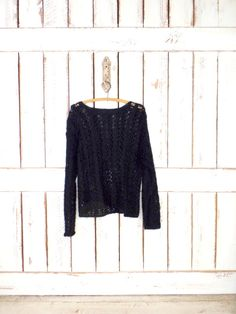 Vintage 90s black open crochet woven knit slouchy pullover sweater/lightweight sheer sweater/medium/large by GreenCnynMercantile on Etsy