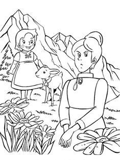heidi mit ein kleines lamm und Fräulein Rottenmeier