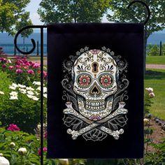 DIA DE LOS MUERTOS/DAY OF THE DEAD~ Sugar Skull New Small Garden flag  by SabellasEmporium