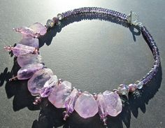 Amethyst Statement Necklace Chunky Amethyst Slabs by PrairieIce