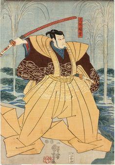 Kuniyoshi, 19th cent. Woodblock triptych print, oban tate-e. Scene by a river from the kabuki play 'Onoe Kikugoro ichidai-banashi Go-ju-san' showing the actors Onoe Kikugoro III as Tenjiku (Tokubei) Kanja (left) in a yellow and brown robe holding a sword above his head, Onoe Kikugoro III also as a monk in the water, Ichimura Uzaemon XII as Tsukimoto Genshu (centre), and Sawamura Sojuro V as Shibaemon (right) leaning on his sword.