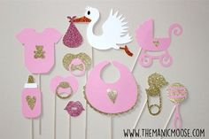 Love this! Child Bathe Props - Child Woman Photograph Props - Set of 10 Glitter Photograph Sales space Props - Pink and Gold Glitter Photograph Props