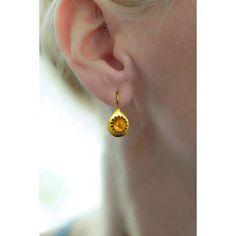 Gold Teardrop Earrings Orange Citrine November by ChenFuchsJewelry