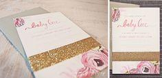 Adorable baby girl invitations