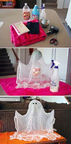 fantasma flotante con gasa y almidón ►http://trucosyastucias.com/decorar-reciclando/decoracion-halloween-casera #DIY #manualidades #decoracion
