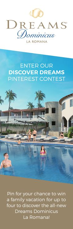 """How to enter: 1) Follow Dreams Resorts on Pinterest 2) Create a Pinterest board titled """"Discover Dreams Sweepstakes"""" 3) Populate your board with pins showing how you'll """"discover"""" Dreams on your next vacation, using inspiration from the """"Discover Dreams Sweepstakes"""" Pinterest board 4) Tag each pin with #DiscoverDreamsSweeps 5) Email the link to your Pinterest board to socialmedia@amresorts.com by December 31, 2016"""