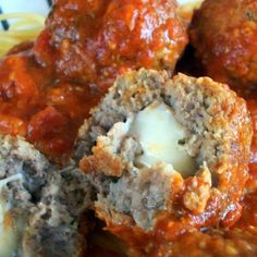 Mozzarella Stuffed Meatballs | What2Cook/// omg they were so good, made sandwichs with them..