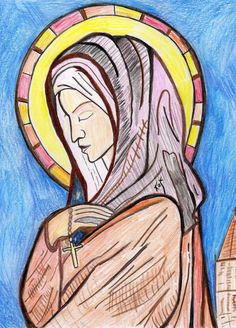 St. Clare of Assisi sketch by Kathy Ellinger, OFS