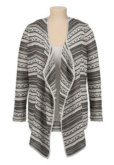 Mixed Stitch Open Front Cardiwrap with shimmer (original price, $59) available at #Maurices