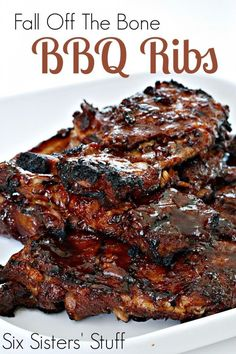 Fall Off The Bone BBQ Ribs on http://SixSistersStuff.com | Only two ingredients and a slow cooker are needed to make these amazing ribs!