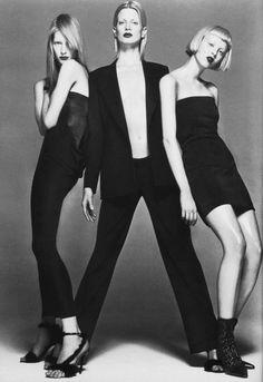 Gianni Versace Fall 1997 LookbookPhotographer: Richard AvedonModel: Kirsten Owen, Kristen McMenamy, Karen Elson