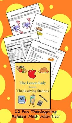 Thanksgiving Math Worksheets for Centers and Stations 5th Grade Activities, Fun Math Activities, 5th Grade Math, Fifth Grade, Thanksgiving Math Worksheets, November Thanksgiving, 5th Grades, Homeschooling, Teaching Ideas