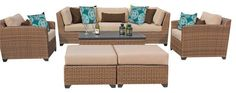 2017 All Weather 6 Piece Outdoor Wicker Patio Furniture Sofa Set