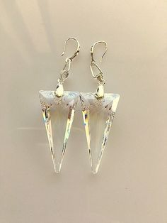 Swarovski Clear Crystal 28mm Spike Earrings by MagicalUniverse on Etsy