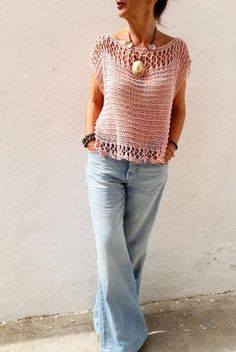 Light pink sweater for women cotton pink pullover women sweater in blush beach cover up loose knit sweater top tank - Beach Blush Cotton Cover knit light Loose Pink Pullover sweater tank Top Women Summer Sweaters, Loose Knit Sweaters, Hand Knitted Sweaters, Sweaters For Women, Women's Sweaters, Knitting Sweaters, Mode Crochet, Crochet Top, Crochet Summer