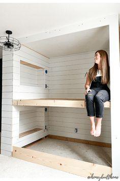 Queen Bunk Beds, Bunk Bed Rooms, Bunk Beds Built In, Built In Beds For Kids, Bonus Room Design, E Room, Bunk Bed Designs, Bed Plans, Bed Styling