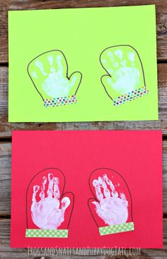 mitten handprint art for kids on FSPDT holiday print art for kids