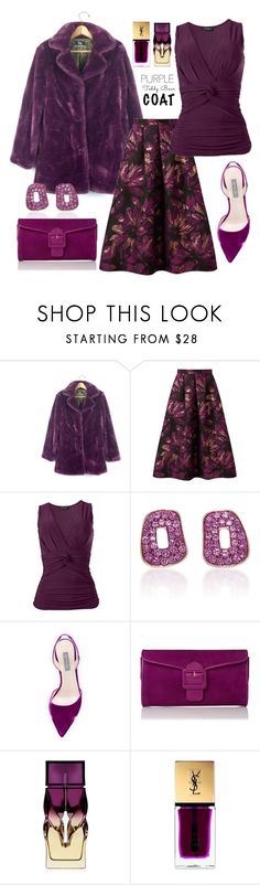 """Purple Passion"" by tjclay3 ❤ liked on Polyvore featuring Miss Selfridge, Mattioli, SJP, Christian Louboutin, Yves Saint Laurent, purple and teddybearcoats"